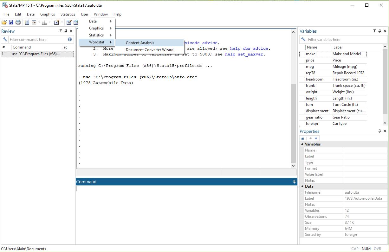 Run WordStat from Stata